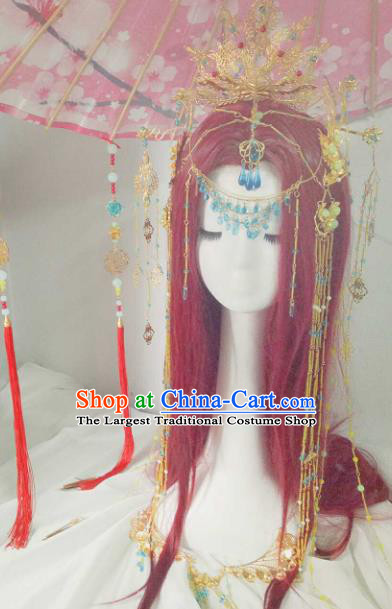 Chinese Ancient Handmade Hair Accessories Traditional Hanfu Phoenix Coronet Hairpins Headwear for Women