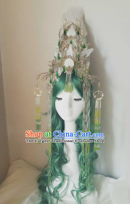 Chinese Handmade Ancient Swordswoman Feather Hair Accessories Princess Phoenix Coronet Hairpins Headwear for Women
