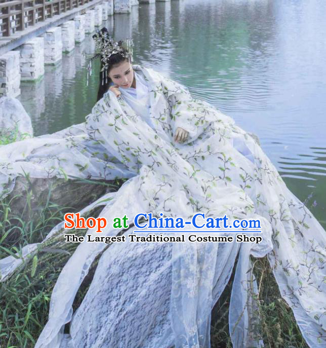 Chinese Ancient Cosplay Peri Princess Costumes Traditional Swordswoman Embroidered Hanfu Dress for Women