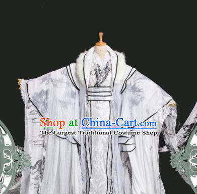 Chinese Ancient Cosplay Swordsman White Costumes Traditional Royal Highness Nobility Childe Clothing for Men