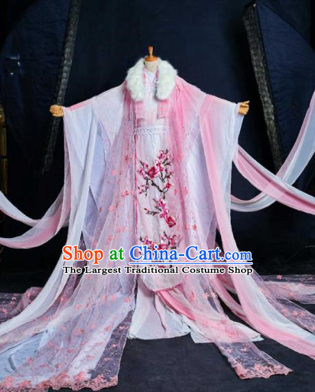 Chinese Ancient Cosplay Swordswoman Costumes Traditional Peri Princess Embroidered Hanfu Dress for Women