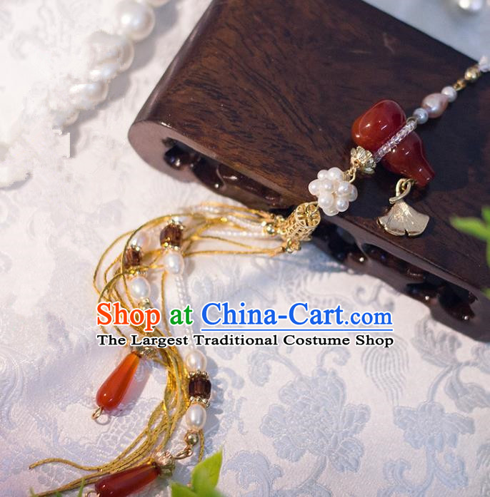 Chinese Traditional Handmade Palace Waist Accessories Agate Calabash Tassel Jade Pendant