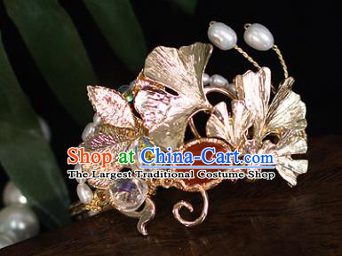 Top Grade Chinese Handmade Ginkgo Leaf Hairdo Crown Ancient Hanfu Hair Accessories for Women