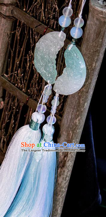 Chinese Traditional Handmade Palace Waist Accessories Carving Moon Jade Pendant for Men