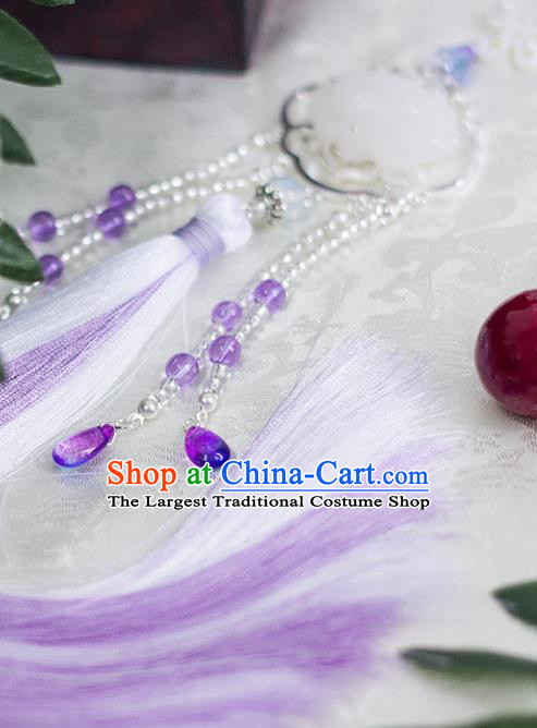 Chinese Traditional Handmade Palace Waist Accessories Carving Lotus Tassel Jade Pendant for Men