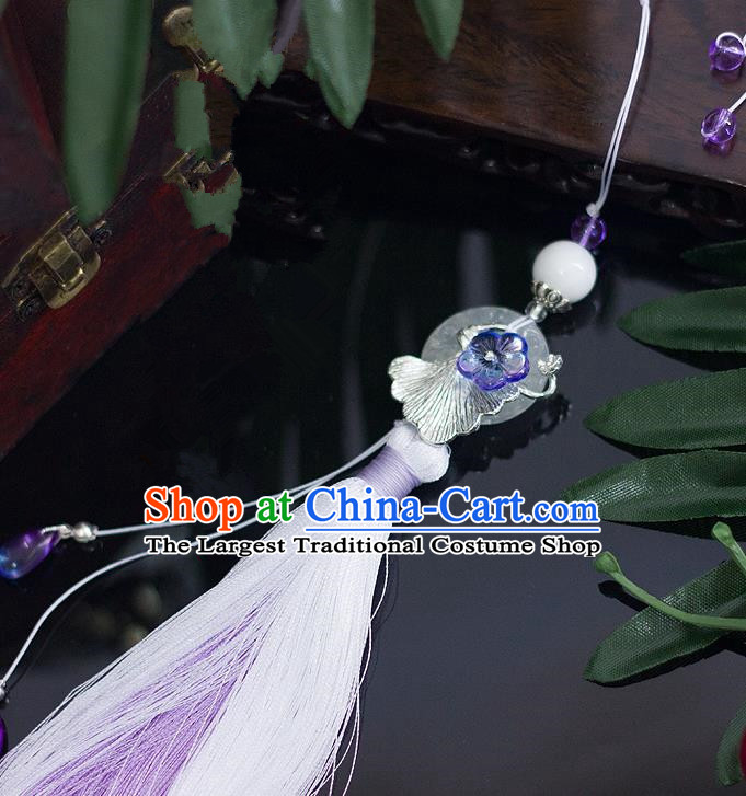 Chinese Traditional Handmade Palace Waist Accessories Ginkgo Leaf Tassel Jade Pendant for Men