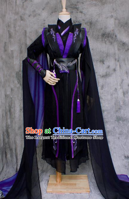 Chinese Ancient Cosplay Swordsman Black Costumes Traditional Nobility Childe Hanfu Clothing for Men
