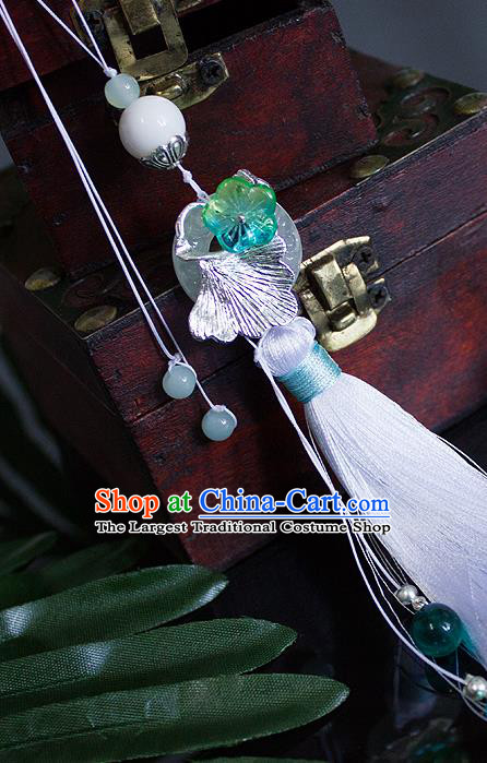 Chinese Traditional Handmade Waist Accessories Palace White Tassel Ginkgo Jade Pendant for Men