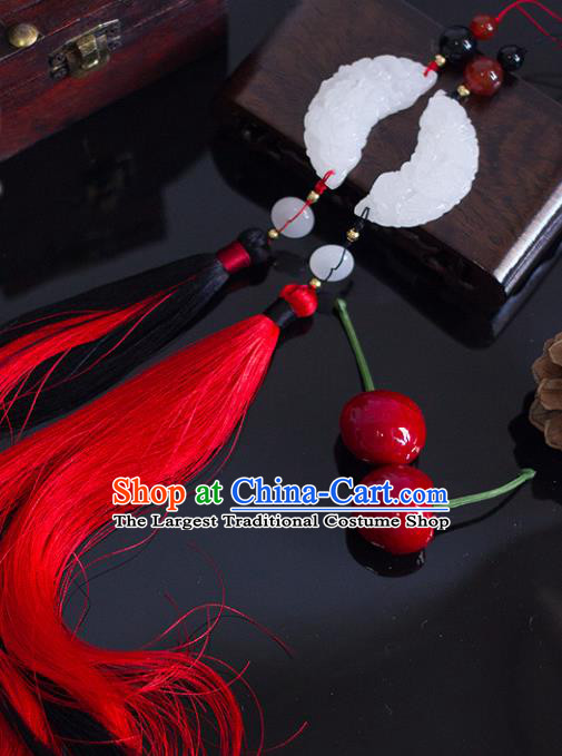 Chinese Traditional Handmade Red Tassel Waist Accessories Palace Moon Jade Pendant for Men