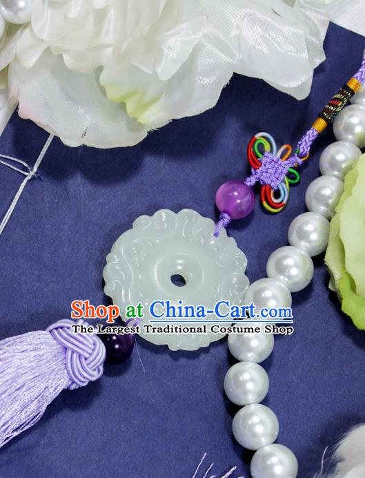 Chinese Traditional Handmade Tassel Waist Accessories Palace Jade Pendant for Men