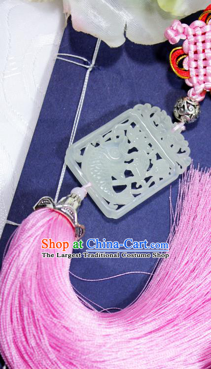 Chinese Traditional Handmade Pink Tassel Waist Accessories Palace Carving Fish Jade Pendant for Men