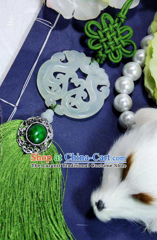 Chinese Traditional Handmade Green Tassel Waist Accessories Palace Jade Pendant for Men