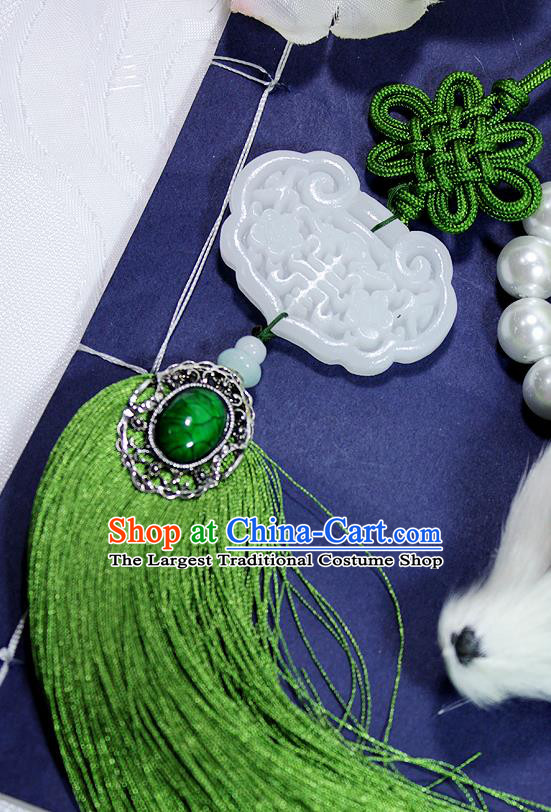 Chinese Traditional Handmade Tassel Waist Accessories Palace Longevity Lock Jade Pendant for Men