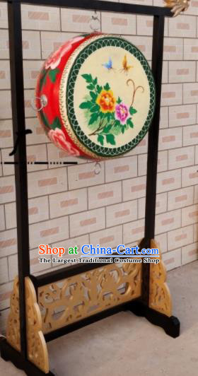 Chinese Traditional Handmade Drums Folk Dance Printing Peony Cowhide Drums