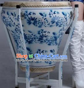 Chinese Traditional Handmade Drums Folk Dance Printing Blue Cowhide Drums