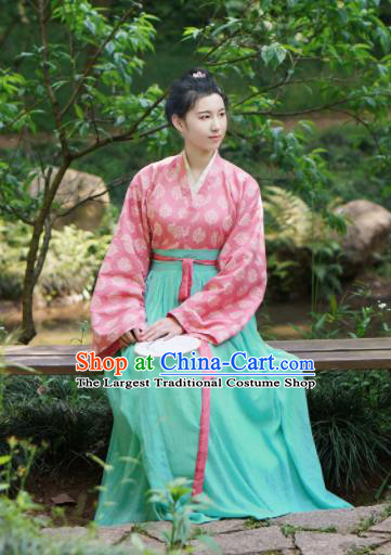 Traditional Chinese Tang Dynasty Young Lady Hanfu Dress Ancient Nobility Lady Embroidered Costumes for Women