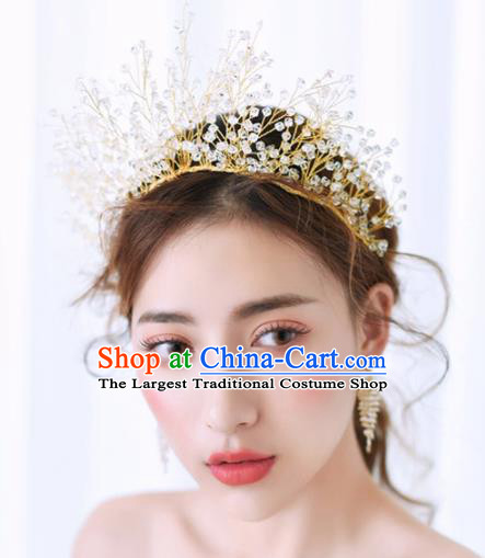 Top Grade Handmade Bride Beads Royal Crown Baroque Hair Accessories for Women