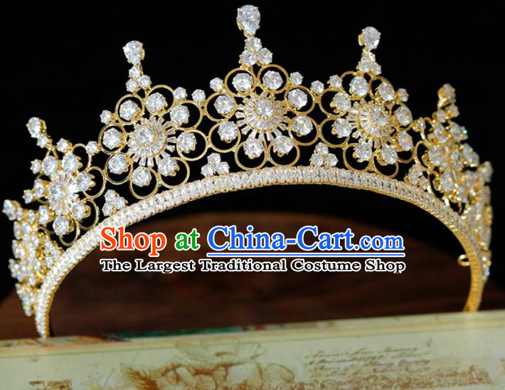 Top Grade Handmade Bride Zircon Golden Royal Crown Baroque Princess Hair Accessories for Women