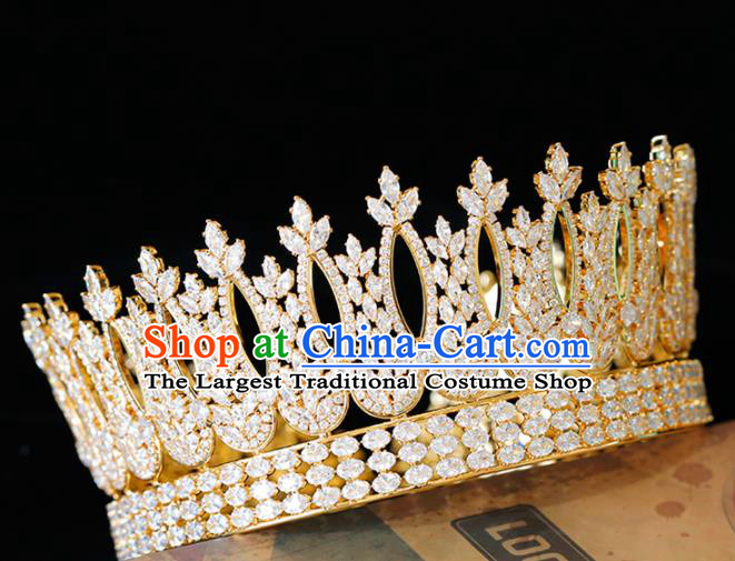 Top Grade Handmade Bride Crystal Golden Royal Crown Baroque Princess Hair Accessories for Women