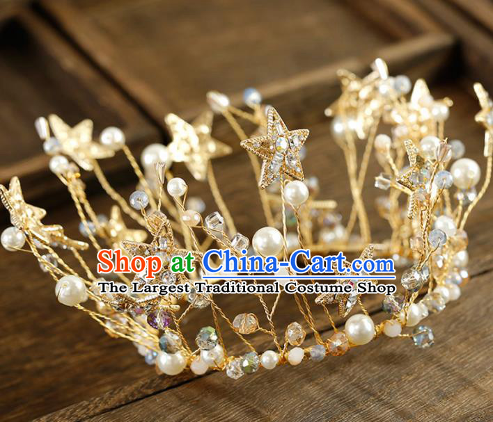 Top Grade Handmade Bride Crystal Stars Pearls Royal Crown Baroque Hair Accessories for Women
