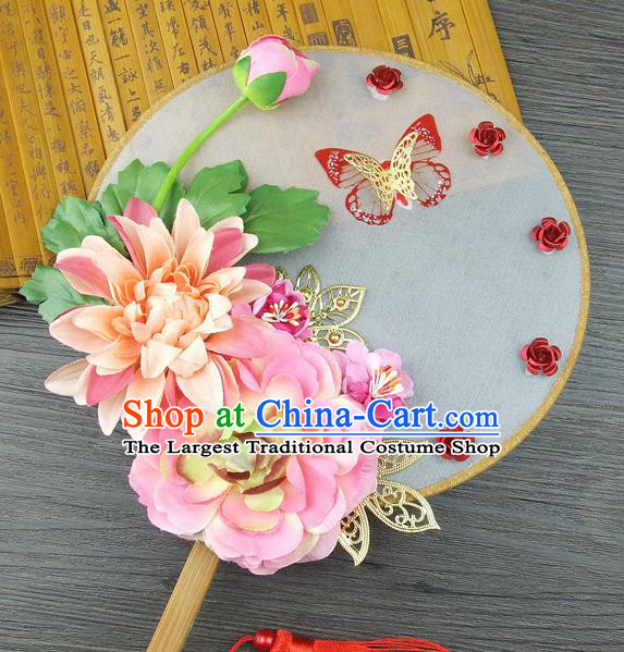 Chinese Traditional Wedding Pink Lotus Round Fans Ancient Bride Handmade Palace Fans for Women