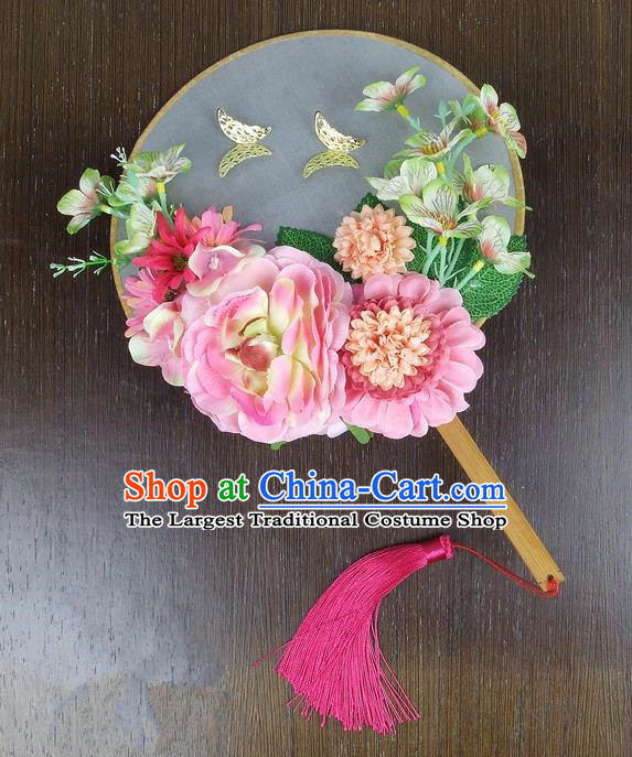 Chinese Traditional Wedding Pink Peony Round Fans Ancient Bride Handmade Palace Fans for Women