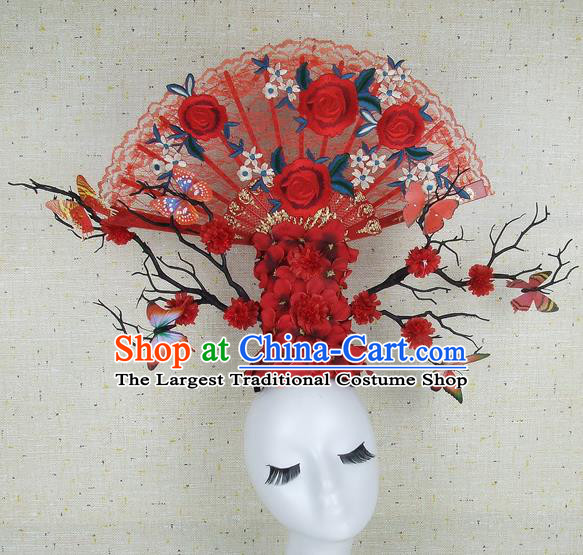 Top Grade Handmade Chinese Red Roses Hair Clasp Headdress Traditional Hair Accessories for Women