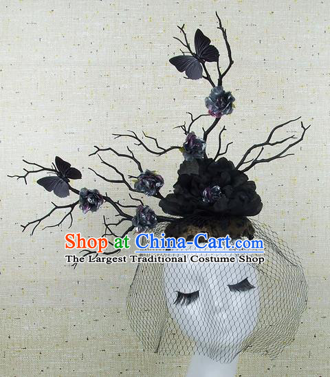 Chinese Traditional Handmade Hair Accessories Halloween Black Peony Butterfly Headwear for Women