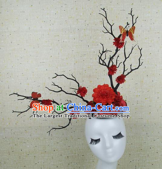 Chinese Traditional Handmade Red Peony Butterfly Hair Accessories Halloween Cosplay Headwear for Women