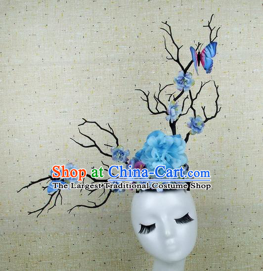 Chinese Traditional Handmade Blue Peony Butterfly Hair Accessories Halloween Cosplay Headwear for Women