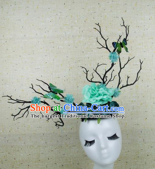 Chinese Traditional Handmade Green Peony Butterfly Hair Accessories Halloween Cosplay Headwear for Women