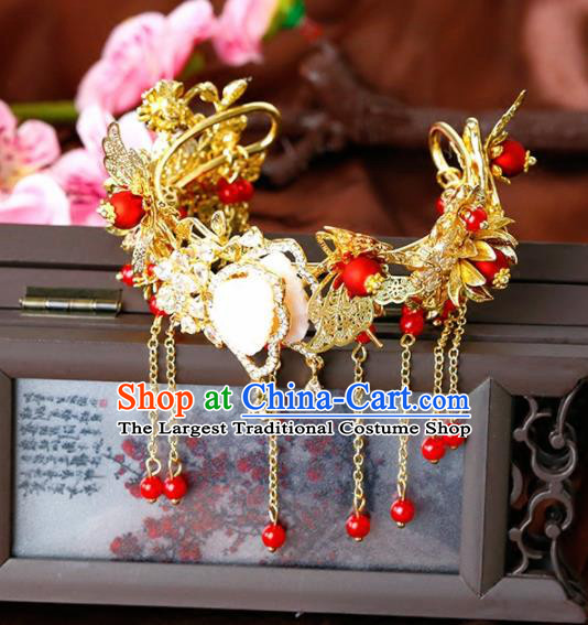 Chinese Ancient Handmade Bracelet Wedding Jewelry Accessories Golden Bangle for Women