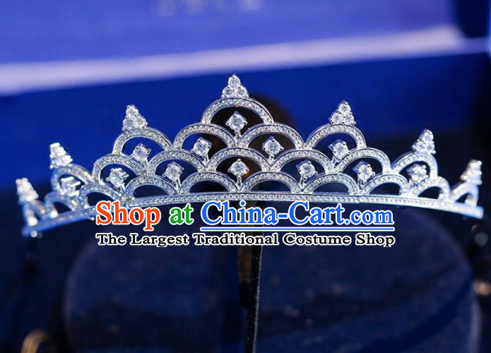 Top Grade Handmade Bride Zircon Royal Crown Baroque Princess Hair Accessories for Women
