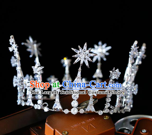 Top Grade Handmade Bride Zircon Round Royal Crown Baroque Princess Hair Accessories for Women