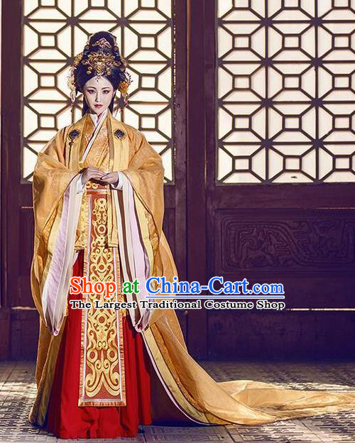 Chinese Ancient Traditional Palace Hanfu Dress Qin Dynasty Empress Embroidered Costumes and Headpiece Complete Set