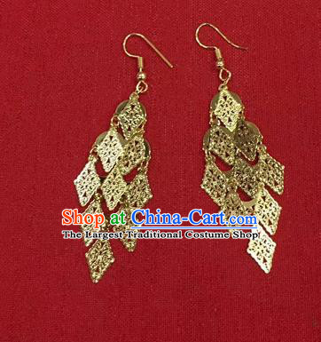 Chinese Ethnic Folk Dance Accessories Traditional Dai Nationality Earrings For Women