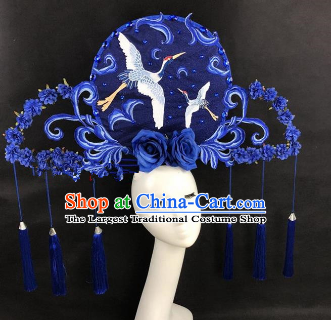 Chinese Traditional Palace Exaggerated Headdress Catwalks Blue Crane Hair Accessories for Women