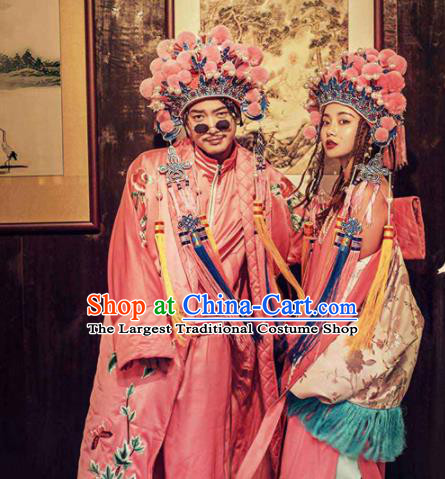 Asian Chinese Ancient Wedding Costumes Traditional Bride and Bridegroom Pink Clothing for Women for Men