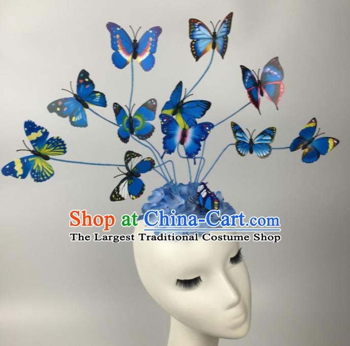 Top Grade Halloween Catwalks Headdress Brazilian Carnival Blue Butterfly Hair Accessories for Women