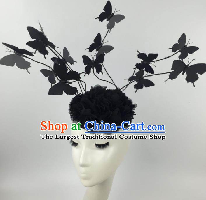 Top Grade Halloween Catwalks Headdress Brazilian Carnival Black Butterfly Hair Accessories for Women