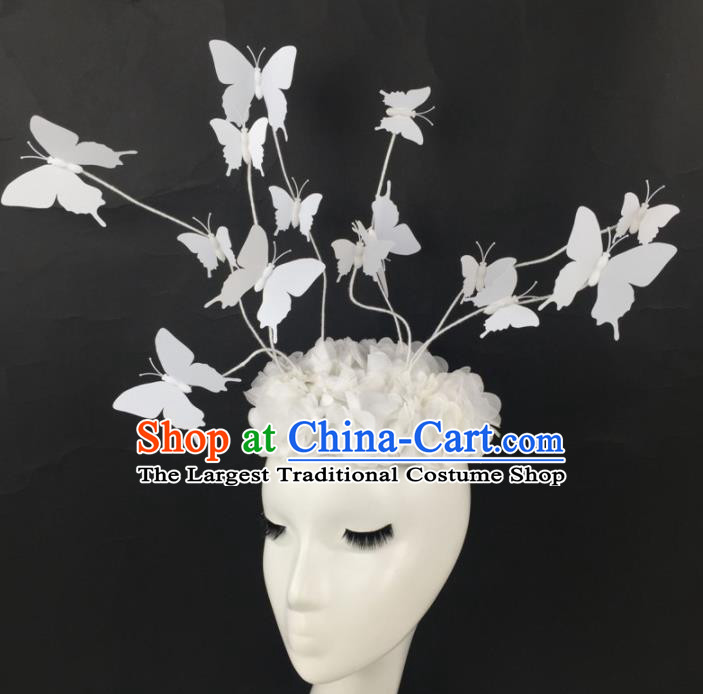 Top Grade Halloween Catwalks Headdress Brazilian Carnival White Butterfly Hair Accessories for Women