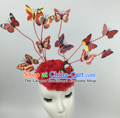 Top Grade Halloween Catwalks Headdress Brazilian Carnival Red Butterfly Hair Accessories for Women