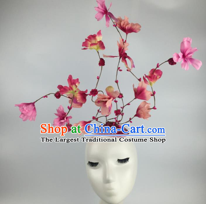 Top Grade Halloween Catwalks Headdress Brazilian Carnival Pink Flowers Hair Accessories for Women