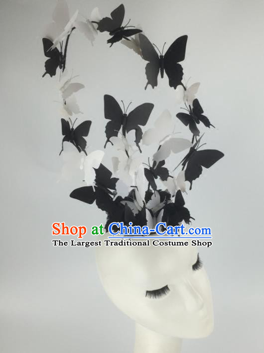 Top Grade Halloween Catwalks Headdress Brazilian Carnival Black Butterfly Top Hat for Women