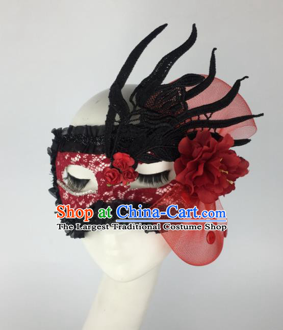 Halloween Exaggerated Accessories Catwalks Red Lace Peony Masks for Women