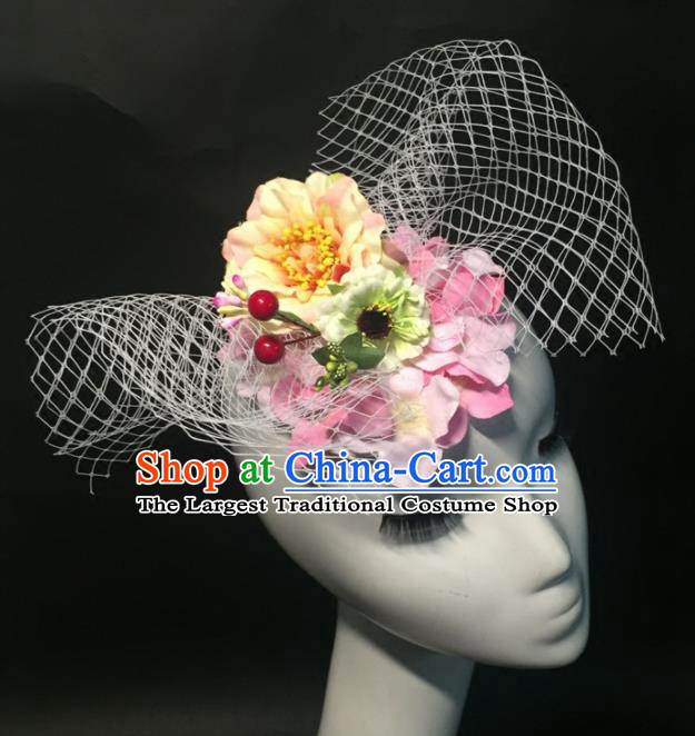 Top Grade Halloween Catwalks Headdress Brazilian Carnival Yellow Peony Headwear for Women