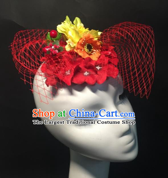 Top Grade Halloween Catwalks Headdress Brazilian Carnival Red Flowers Headwear for Women