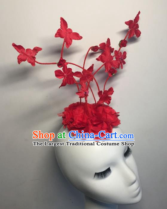 Top Grade Halloween Catwalks Headdress Brazilian Carnival Red Silk Flowers Top Hat for Women