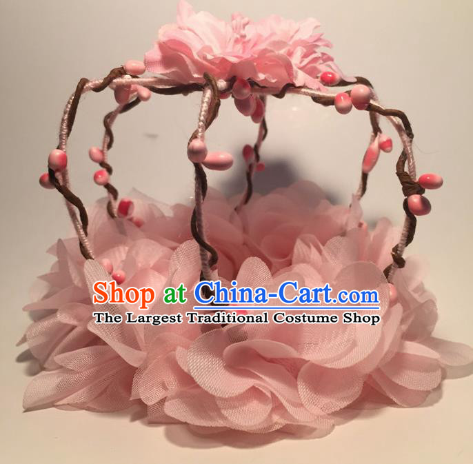Top Grade Halloween Catwalks Headdress Brazilian Carnival Pink Flowers Royal Crown for Women