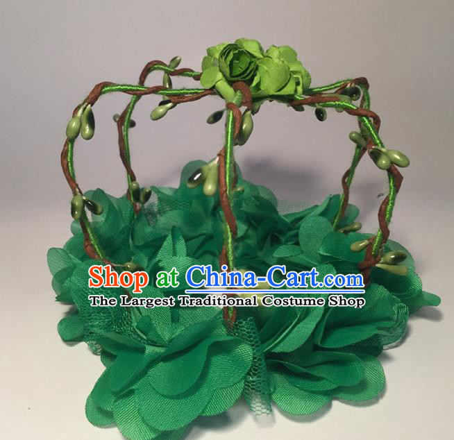 Top Grade Halloween Catwalks Headdress Brazilian Carnival Green Flowers Royal Crown for Women